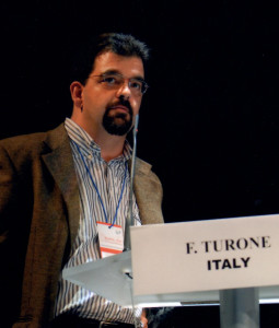 Fabio Turone speaking on the communication of risk at the 2009 Annual meeting of the International Society of Pharmacovigilance in Reims, France